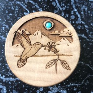 Small wood etched trinket box